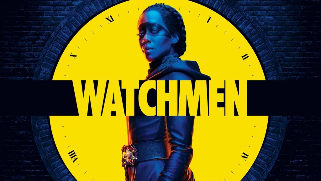 Pôster da minissérie da HBO, Watchmen, com a personagem Sister Night centralizada,