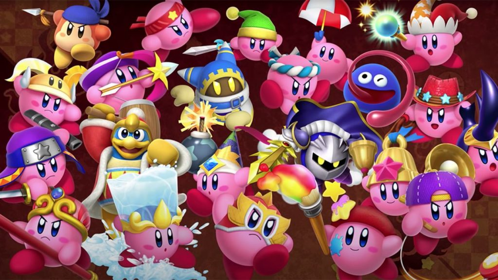 Capa do Kirby Fighters 2, mostrando os personagens presentes no jogo como Kirby com suas diversas habilidades de cópia, Meta Knight e King Dedede.