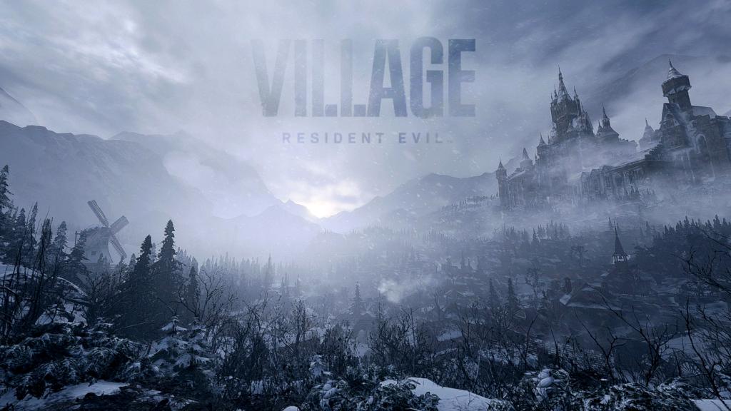 Cenário Resident Evil Village com o Título do jogo