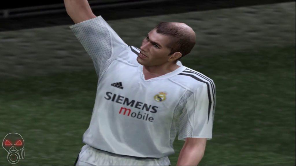 Imagem do jogador de futebol Zidane no PlayStation 2, no game PES 4