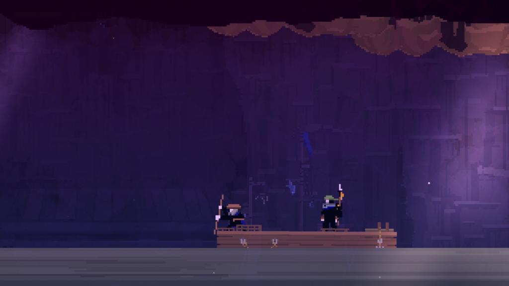 Um homem velho e Faraday velejando em uma jangada a procura por Olija