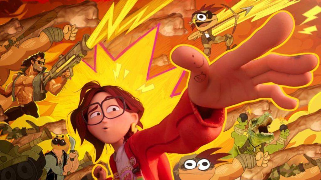 Uma imagem de Katie Mitchell apontando para o horizonte, enquanto o fundo da tela mostra uma arte estilizada diferente do padrão do filme.